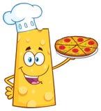 Szef kuchni kreskówki maskotki Serowy charakter Trzyma pizzę Fotografia Royalty Free