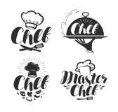 Szef kuchni, kucbarski logo lub etykietka, projekta ilustraci przestrzeń ilustracji