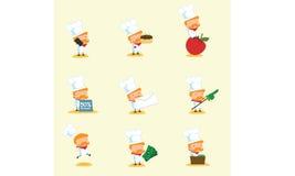 Szef kuchni maskotka Ustawia 3 Obrazy Royalty Free