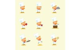 Szef kuchni maskotka Ustawia 1 Zdjęcie Royalty Free
