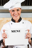szef kuchni mienia menu Obraz Stock