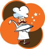 szef kuchni objętych przechowywanych tacę Obrazy Royalty Free