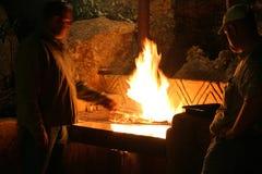 szef kuchni, płomień grill obraz stock