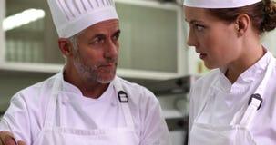 Szef kuchni pokazuje kolega zawartość wtedy ono uśmiecha się przy kamerą garnek zbiory wideo