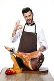 Szef kuchni promuje modną wieprzowinę Zdjęcia Royalty Free