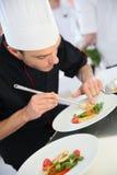 Szef kuchni przygotowywa gastronomical naczynie Zdjęcie Stock