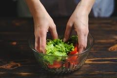 Szef kuchni przygotowywa sałatki warzywa zdjęcie royalty free
