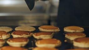 Szef kuchni robi blinom dla śniadania przy bufet restauracją Proces robić blinowi na wielkim piekarniku zdjęcie wideo