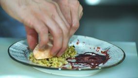 Szef kuchni stawia ryba na talerzu zdjęcie wideo