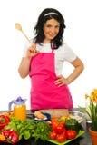 szef kuchni szczęśliwa seans łyżki kobieta drewniana Obrazy Royalty Free