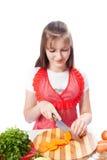 Szef kuchni szczęśliwy kucharz ciie marchewki Zdjęcia Stock