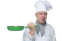Szef kuchni szczęśliwy z mój naczyniem na białym tle Obrazy Royalty Free