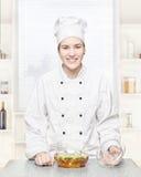 szef kuchni szklani garnka polewki warzywa Obrazy Stock
