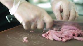 Szef kuchni w hotelowym lub restauracyjnym kuchennym kucharstwie ręka, tylko 4K zdjęcie wideo