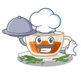 Szef kuchni z jedzenie darjeeling herbatą w charakter butelce ilustracji