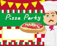 Szef kuchni z pizzą - abstrakt karta z przestrzenią dla Twój teksta Zdjęcie Royalty Free