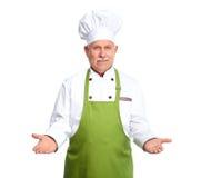 Szef kuchni zaprasza przy restauracją. zdjęcia stock