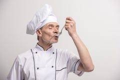 szef odosobnionego kucharza biel Zdjęcie Royalty Free