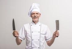szef odosobnionego kucharza biel Fotografia Stock