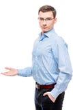 Szef pokazuje jego rękę strona przestrzeń Fotografia Royalty Free