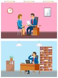 Szef Przeprowadza wywiad Nową kobieta pracownika pracę w biurze ilustracja wektor