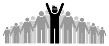 Szef spółdzielnia jest jak arogancki królewiątko Drużyna lub społeczność Grupa ludzi, swój szef i lider lub ilustracja wektor