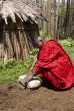 Szef w bydlęcia krall w Maasi wiosce, Ngorongoro Conservati Obrazy Royalty Free