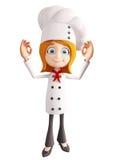 Szefa kuchni charakter z best znakiem royalty ilustracja