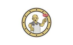 Szefa kuchni dziadunia logo projekt royalty ilustracja