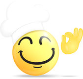 Szefa kuchni emoticon z ok ręką Zdjęcie Royalty Free