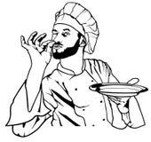 Szefa kuchni gest Wyśmienicie i Trzyma talerza Zdjęcia Royalty Free