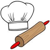 Szefa kuchni kapelusz & Toczna szpilka ilustracji