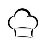 Szefa kuchni kapeluszu ikona Kuchni i menu projekt gdy dekoracyjna tło grafika stylizował wektorowe zawijas fala Obrazy Royalty Free