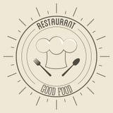 Szefa kuchni kapeluszu ikona Menu i Karmowy projekt gdy dekoracyjna tło grafika stylizował wektorowe zawijas fala Fotografia Stock