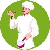 szefa kuchni kucharza naczynia degustacja ilustracja wektor