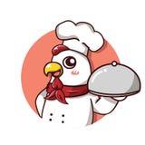 Szefa kuchni kurczaka uśmiechu chwyta naczynie ilustracji