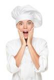 Szefa kuchni lub piekarza zdziwiony z podnieceniem i szokujący Fotografia Royalty Free