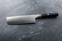 Szefa kuchni ` s nóż od Damaszek stali Istny Japoński dzieło sztuki obraz stock