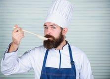 Szefa kuchni smaku souce od drewnianej łyżki Kuchnia kulinarna vite Zdrowy karmowy kucharstwo Dojrzały modniś z brodą Szczęśliwy fotografia stock