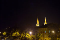 Szeged city center, with a highlight on Szeged Cathedral, seen from Tosza river during the evening in summer Stock Photos