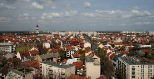 Szeged (city of sunshine). Panoramic cityscape with old buildings - Szeged (city of sunshine), Hungary royalty free stock photos