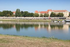 Szeged, Hungary. Szeged skyline - morning view a town in Hungary with school building and Tisza river stock images
