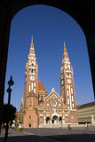 Szegedi Dom (Church of Szeged). The church in centre of Szeged, in South Hungary stock photos