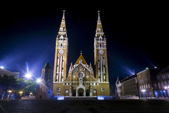 Szegedi Dom at Night royalty free stock image
