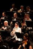 The   Szegedi Symphonic Orchestra performs. BUDAPEST, HUNGARY - 2011 FEB 26: Members of the Szegedi Symphonic Orchestra performs at The Thalia Theatre stage Royalty Free Stock Image