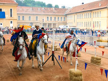 Szeklers knights on horses. On 20-22 July 2008 was the first edition of Brasov's Medieval Feasts. The event managed to revive the medieval atmosphere of this Stock Photo