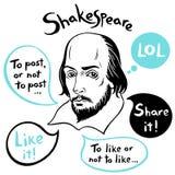 Szekspir portret z mowa bąblami i ogólnospołecznymi medialnymi śmiesznymi cytacjami Obrazy Royalty Free