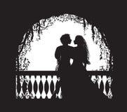 Szekspir s sztuka Romeo i Juliet na balkonie, romantyczna data, sylwetka, historia miłosna, ilustracja wektor
