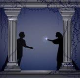 Szekspir s sztuka Romeo i Juliet przy nocą, romantyczna data, sylwetka, historia miłosna, royalty ilustracja