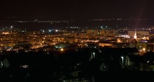 Szekszárd at night. Szekszárd is the administrative center of Tolna county, South-West of Hungary. The town is a famous historic wine producing region stock images